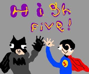Superman and Batman High Five