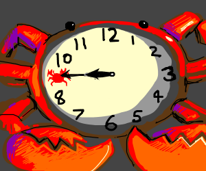 It's 9:45 on an analog clock but 9 is a crab
