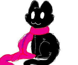 Adorable kitten wearing a scarf!