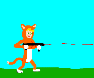 Girl dressed as cat shoots a lasergun