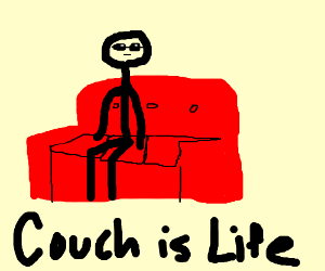 stick man likes being on the couch