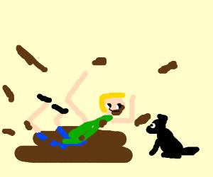Guy rolls around in mud, doggo pup watches