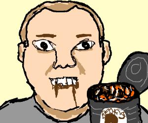 British man eating beans.