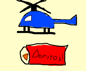 Helicopter about to land on bag of doritos