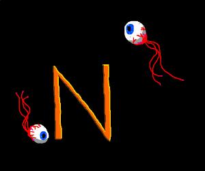 Demon eyes from terraria orbiting an N