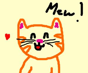 Cute tabby cat saying mew