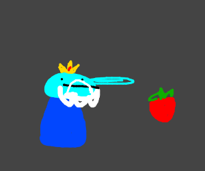 Ice king looks at a strawberry