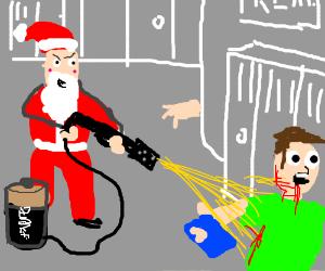 Santa shoots up school w/ a corrosive battery