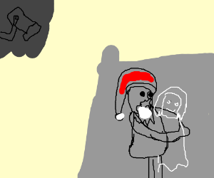 Santa hugs pale ghost girl in front of a CCTV