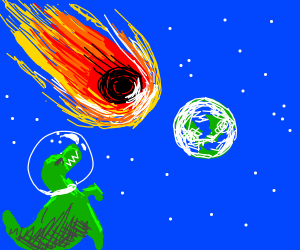 Trex watchs the world end by meteor from space