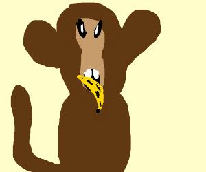 A monkey eating a banana