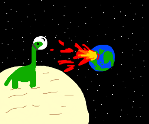 Dinosaur watches earth get rekt on moon