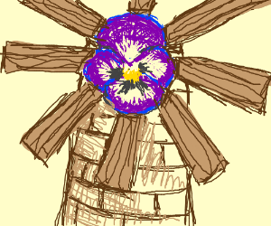 Pansies (the flower) on top of a windmill