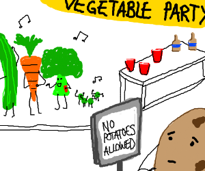 Potato is excluded from vegetable party.
