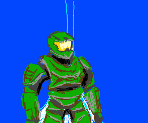 Master Chief Inside A Neon Blue Room