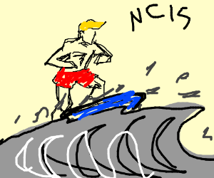 Guy surfing on gray water captioned 'ncirs'
