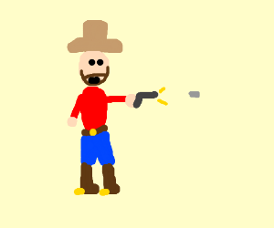 The wildwest crowboy fire his gun