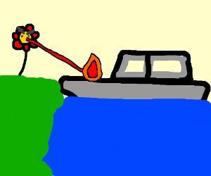 Flower atacks boat