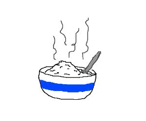bowl of steaming porridge