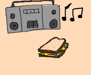 Stereo blaring music next to a sandwich