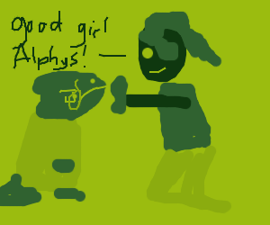 Undyne feeds Alphys a pet treat