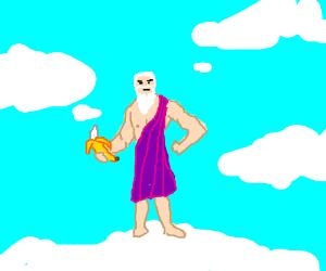 Zeus holds banana