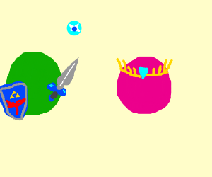 Link and Zelda painted as pink and green balls