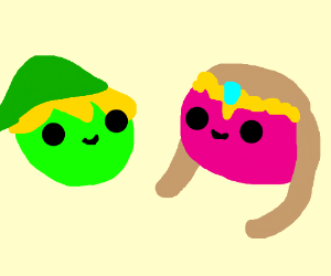 Link is a green sphere and Zelda is a pink one