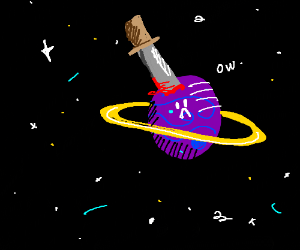 knife stabs planet in space