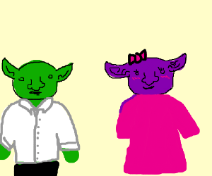 Crazy green goblin vs shy purple goblin