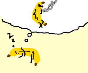 A talking banana dreaming to smoke drugs