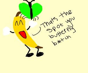 Green butterflies on a banana.