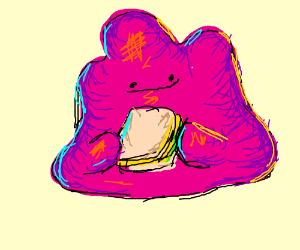 ditto eats sandwich