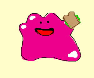Dittp eats a sandwhich