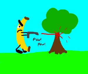 Angry banana shoots lasers at a tree.