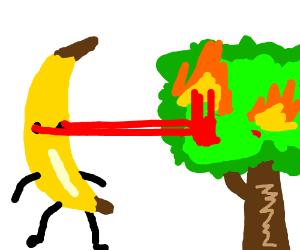 Giant Banana Man shoots lasers at trees