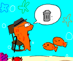 Grandfather goldfish teaches kids about trash