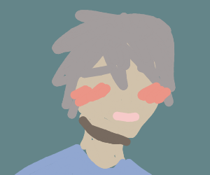 Anime Boy With No Eyes Red Cheeks Grey Hair Drawing By Human The