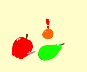 apple fighting pear withaknifew/orangewatching