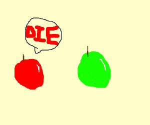 Red apple and green apple fight to the death.