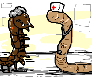 Grannypede is treated by WormNurse