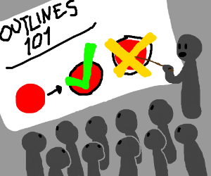 How to draw outlines 101, lots of students.