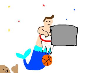 A mermaid,but male? Winning a basketball game
