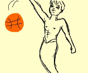 Male mermaid playing basketball