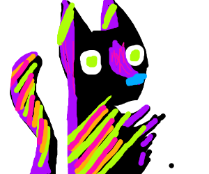 Black cat with colorful stripes