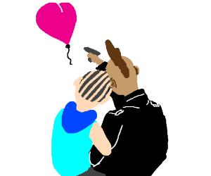 Alternative couple admire heart balloon