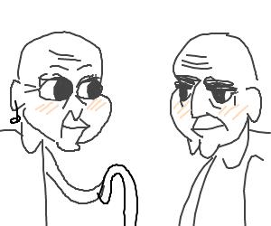 Bald elderly man & bald elderly woman blushing