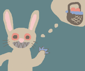 Monster/evil bunny wishes you a happy easter