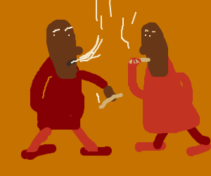 2 people smoking