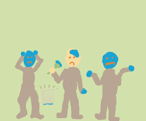 The Blue Man Group ran out of blue paint